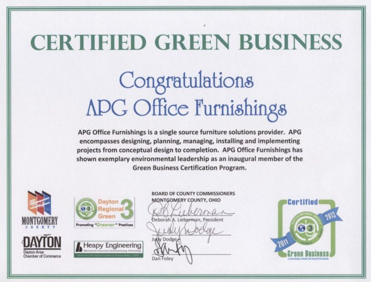 We Have Been Recognized By Montgomery County, Ohio As A Certified Green  Business For Showing Exemplary Environmental Leadership.
